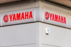 Northampton UK Januari 05, 2018: Yamaha logotecken på lagerväggen Arkivbild