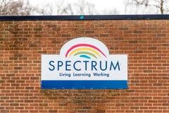 Northampton UK January 13 2018: Spectrum Skills Centre logo sign post Royalty Free Stock Photos
