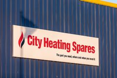 Northampton UK January 04, 2018: City Heating Spares logo sign in Sixfields Industrial Park.  Royalty Free Stock Photos