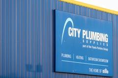 Northampton UK January 04, 2018: City Plumbing Supplier logo sign in Sixfields Industrial Park.  Stock Image