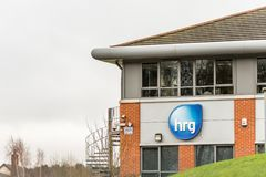 Northampton UK January 23, 2018: HRG Shopping Marketing Agency logo sign in Grange Park Industrial Estate Stock Photos
