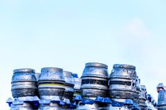Northampton UK January 06 2018: Marstons Burton metal beer kegs barrels of beer stacked for dispatch Royalty Free Stock Image
