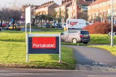 Northampton UK January 10 2018: Portakabin Portable and Modular Buildings to Hire logo sign stand Royalty Free Stock Photography