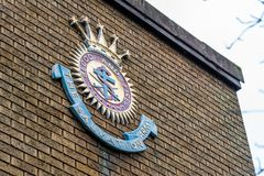 Northampton UK January 5, 2018: The Salvation Army logo sign on brick wall in Northampton town centre Royalty Free Stock Image