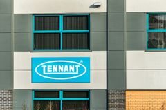 Northampton UK January 10, 2018: Tennant Cleaning Solutions logo sign post.  Stock Photos