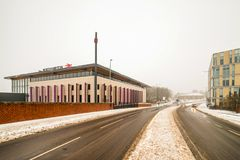 Northampton, UK - Mar 03, 2018: Cloudy winter snowy day view of New Northampton Train Station royalty free stock photo