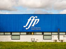 Northampton UK March 16 2018: FFP Packaging Solutions logo sign on blue warehouse wall.  Stock Image