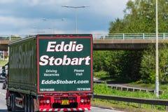 Northampton, UK - May 10th 2019: eddie stobart curtain side lorry truck on uk motorway in fast motion stock photos