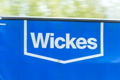 Northampton, UK - May 10th 2019: wickes curtain side truck on uk motorway in fast motion royalty free stock images