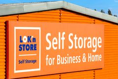 Northampton, UK - Oct 25, 2017: Day view of LOKn Store Self Storage for business and home logo at Riverside Retail Park Royalty Free Stock Photography