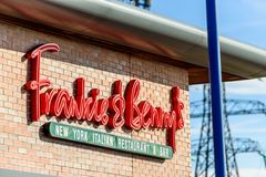 Northampton, UK - Oct 25, 2017: Day view shot of Frankie and Benny Restaurant logo in Riverside Retail park.  stock photography