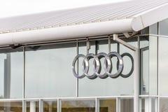 Northampton UK October 29, 2017: Audi Sport logo sign stand Sixfields Reatil Park.  royalty free stock photography