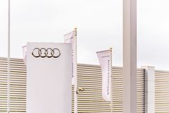 Northampton UK October 29, 2017: Audi Sport logo sign stand Sixfields Reatil Park.  stock photography