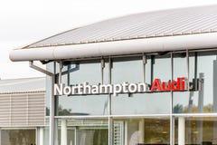 Northampton UK October 29, 2017: Audi Sport logo sign stand Sixfields Reatil Park.  stock images