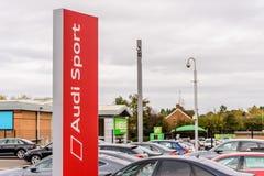 Northampton UK October 29, 2017: Audi Sport logo sign stand Sixfields Reatil Park.  stock image