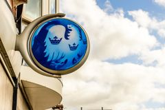 Northampton UK October 3, 2017: Barclays bank logo sign stand Northampton industrial estate Royalty Free Stock Photos
