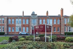 Northampton UK October 28 2018: cloudy day view of northampton school for boys logo and building