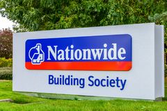 Northampton UK October 3, 2017: Nationwide Building Society logo sign stand Northampton industrial estate Royalty Free Stock Image
