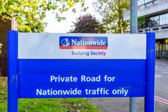 Northampton UK October 3, 2017: Nationwide Building Society logo sign stand Northampton industrial estate.  Stock Photo