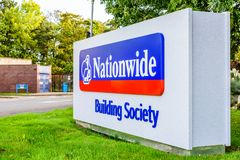 Northampton UK October 3, 2017: Nationwide Building Society logo sign stand Northampton industrial estate Royalty Free Stock Photography