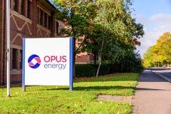 Northampton UK October 3, 2017: Opus Energy logo sign stand Northampton industrial estate.  royalty free stock photos