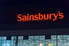 Northampton UK Październik 3, 2017: Sainsburys logo podpisuje wewnątrz Northampton grodzkiego centre Obraz Stock
