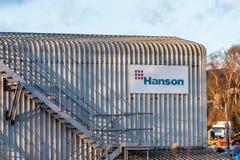 Northampton UK Styczeń 04, 2018: Hanson Przygotowywający Nixed betonu logo podpisuje wewnątrz Sixfields Fotografia Stock
