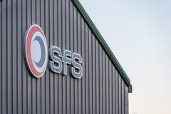 Northampton UK Styczeń 04, 2018: SFS specjalisty floty usługa logo Podpisuje wewnątrz Sixfields teren przemysłowego Fotografia Stock
