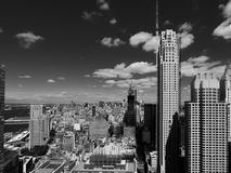 An aerial view of the NYC skyline looking North from the World Trade Center Stock Photography