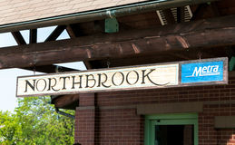 Northbrook, Illinois, United States - August 16, 2014: Northbrook Metra sign at the Northbrook Metra Station. Northbrook Metra sign at the Northbrook Metra Royalty Free Stock Photography