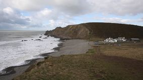Northcott Mouth beach north of Bude North Cornwall England UK on the south west cast path with waves stock video footage