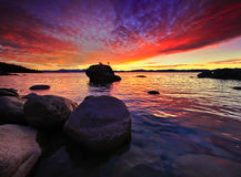Northe Lake Tahoe solnedgång Royaltyfri Bild
