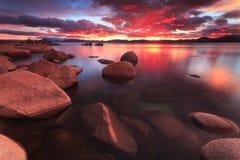 Northe Lake Tahoe solnedgång Royaltyfri Foto