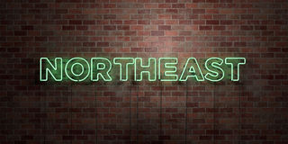 NORTHEAST - fluorescent Neon tube Sign on brickwork - Front view - 3D rendered royalty free stock picture. Can be used for online banner ads and direct mailers Royalty Free Stock Photos