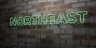 NORTHEAST - Glowing Neon Sign on stonework wall - 3D rendered royalty free stock illustration. Can be used for online banner ads and direct mailers Royalty Free Stock Image