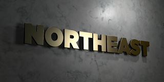 Northeast - Gold text on black background - 3D rendered royalty free stock picture. This image can be used for an online website banner ad or a print postcard Royalty Free Stock Photos