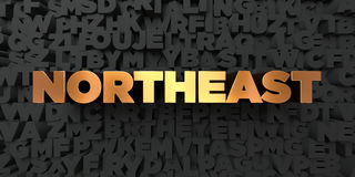 Northeast - Gold text on black background - 3D rendered royalty free stock picture. This image can be used for an online website banner ad or a print postcard Stock Photos
