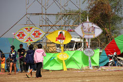 Northeast Kites Festival season. HUAI RAT, BURIRAM - DECEMBER 18 : The northeast of Thailand kites festival season on December 18, 2011 at sport ground, Huai Rat stock image