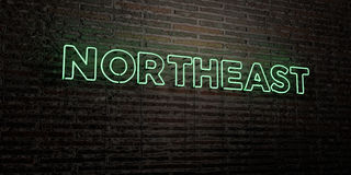NORTHEAST -Realistic Neon Sign on Brick Wall background - 3D rendered royalty free stock image. Can be used for online banner ads and direct mailers Royalty Free Stock Photos