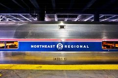 A Northeast Regional train from Amtrak. WASHINGTON DC -A Northeast Regional train from Amtrak connecting Washington to New York on the Northeast Corridor stock images