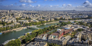 Northeast view of Paris. And the River Seine from the Eiffel Tower Stock Image