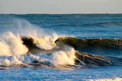 Northeast Winter Surf Session. A winter storm brings pounding surf to coastal New Hampshire Royalty Free Stock Image