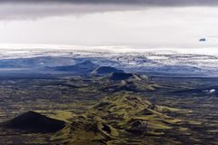 Northeastern part of Lakagigar volcanic fissure as seen from Laki volcano in the direction of Vatnajokull glassier in South of. Iceland royalty free stock photography