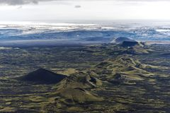 Northeastern part of Lakagigar volcanic fissure from Laki volcano to Vatnajokull glassier in South of Iceland.  royalty free stock photography