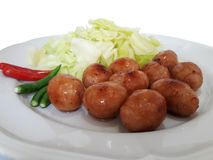 Northeastern of Thailand Sausage. Made from rice and minced pork and garlic seasoned with salt. Wrapped with pork fillet royalty free stock photography