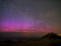 Night sky stars and aurora polar lights stock images