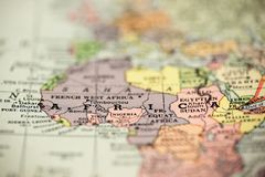Northern Africa on Map. Northern Africa is in focus on a vintage map royalty free stock photos