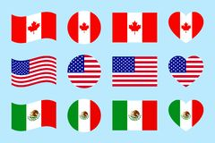 Northern america countries flags. vector illustration. Canada, USA, Mexico official flags. geometric shapes. Flat style stock illustration