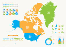Northern American infographic with icons Royalty Free Stock Images