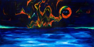 Northern or Aurora Borealis. Oil painting Royalty Free Stock Images